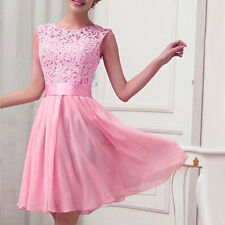 Women Sleeveless Lace Short Dress Prom Evening Party Cocktail Bridesmaid Wedding