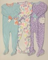 Carters Girls Lot Of 3 Footed Footie Pajamas Sleepers Size 4T New With Tags
