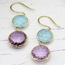 Double Drop Round Carved Amethyst Blue Topaz Dangling 18 KT Yellow Gold Earrings