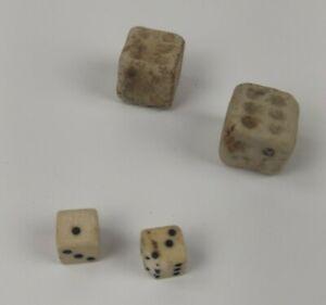 Antique Stone & Miniature Bone Roman Style Six Sided Dice Sets