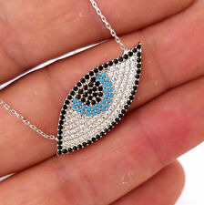 Evil's Eye, TURKISH 925K STERLING SILVER TURQUOISE NECKLACE #0052 for GOOD LUCK