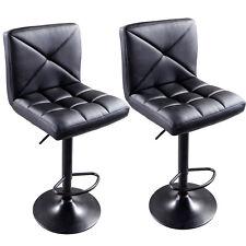 2xBlack PU Leather Modern Adjustable Swivel Barstools Hydraulic Chair Bar Stools