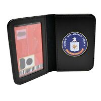CIA Medallion Leather ID Card Case Contractor License Credit Holder Perfect Fit