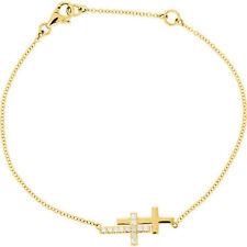 """Diamond Double Sideways Cross 8"""" Bracelet In 14K Yellow Gold (1/6 ct. tw.)"""