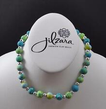 Jilzara Lime Girls Petite Silverball Polymer Clay Beads Stretch Necklace Artisan