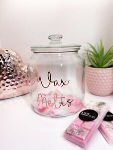 Rose Gold / Glass Wax Melt Storage Tub Bow Jar - Mrs Hinch Inspired