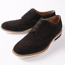 NIB $1590 KITON NAPOLI Chocolate Suede Wingtips with Contrast Soles US 10 Shoes