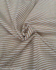 Organic Cotton Spandex Fabric 1x1 Rib Knit TAN Small Stripes by the Yard 9/14