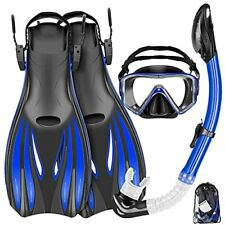 New listing Mask Fins Snorkel Set Snorkeling Gear for Adults, Swim Goggles Panoramic View An