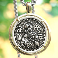 Mother Of God Vladimir Icon Vintage Pendant Necklace Miraculous Medallion