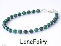 Solid 925 Sterling Silver Green Malachite Jewellery Bracelet Stud Earrings