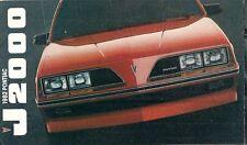 Pontiac J2000 1982 USA lancio sul mercato formato più piccolo opuscolo di vendita