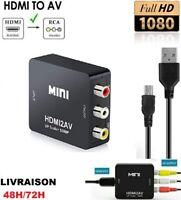 Mini Adaptateur Convertisseur HDMI vers RCA AV/CVSB L/R HD 1080p VG +Cable