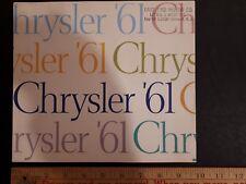 1961 CHRYSLER Full Line - Original Dealer Color Sales Catalog - Brochure - (US)