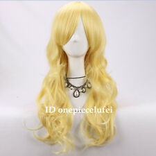 Black Canary Yellow Blonde Hair 60cm Long wavy Curly Cosplay Wig +a wig cap