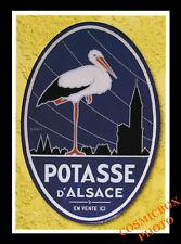 Carte postale publicitaire POTASSE d'ALSACE advertising postcard Hansi cigogne