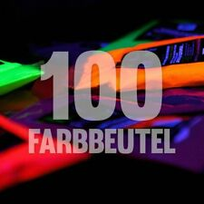 100 x NEON Holi Pulver Festival Farbbeutel Fotoshooting Faben LEUCHTEN UV
