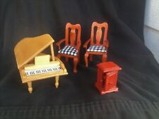 4~ Vintage Wood Doll House Furniture Chairs,Piano,And Upright Cabinet/Dresser