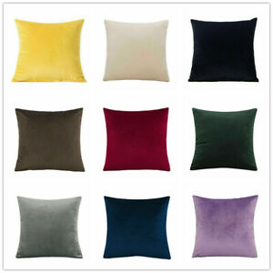 "12""16""18""20""22""24"" Large Velvet Plain Cushion Cover Pillow Case Home Sofa Decor"