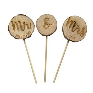 Rustic engraved log slice cake topper for wedding, engagement or anniversary