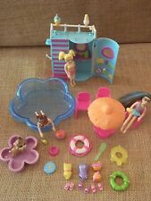 Polly Pocket Swimming Pool Slide Playset Swimming Dolls Clothing P64