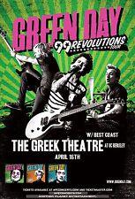 "GREEN DAY ""99 REVOLUTIONS TOUR"" 2013 UC BERKLEY, CALIFORNIA CONCERT TOUR POSTER"