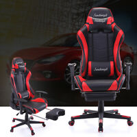 Gaming Racing Chair Leather Office Recliner Computer Seat Swivel Footrest Red