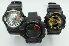 Casio G-Shock Chrono Watch Set of 3 Men's Collection Black Gold Silver WORKING
