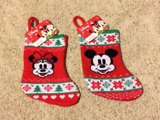 Disney Mickey & Minnie Mouse Holiday Christmas Stockings Red Mini Set of 2