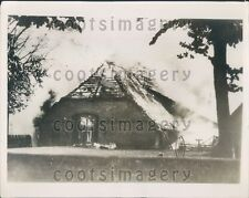 1936 Fire Burning Mecklenburg Village Warlow Germany Press Photo