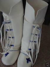 NEW WHITE ELK HIDE WEDDING REGALIA (CUSTOM MADE SIZES) MOCCASINS MUKLUKS BOOTS