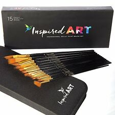 Paint Brush Set - 15 Professional Art Brushes for Acrylic, Watercolor, Oil, and