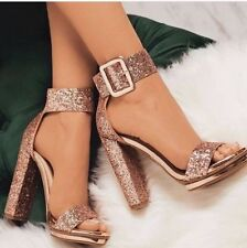 New Metallic Glitter Open Toe Sandals Wide Ankle Strap Chunky Heel Low Platform