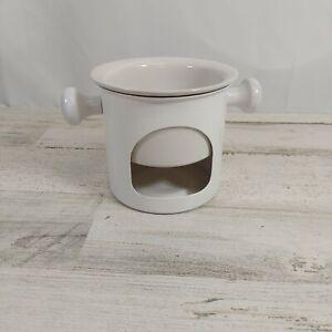 Ceramic Butter Fondue Warmer Set includes Metal Base and Ceramic Insert