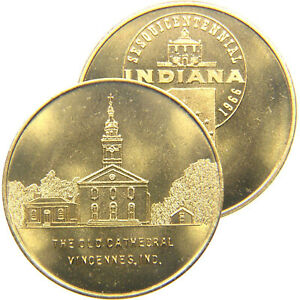 VINCENNES, INDIANA, 1966, State Sesquicentennial, 'Old Cathedral' Brass Medal.