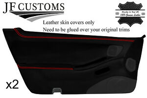 RED STITCH 2X FULL DOOR CARD REAL LEATHER COVERS FITS NISSAN 300ZX Z32 90-96