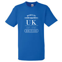 BORN IN THE UK EST 1707 BRITISH UNION T SHIRT PROUD T SHIRT HOLIDAY GIFT ENGLAND
