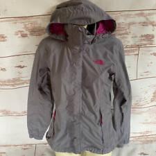 The North Face Womens Gray Pink Zip Up Rain Jacket Shell Coat S Small