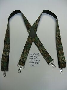 Mens Suspenders X Style ADVANTANGE Camouflage Swivel Belt Loop Snaps USA Made