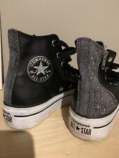 Chuck Star CONVERSE high tops black Lepard Print Leather Lift Clean Hi Size 39