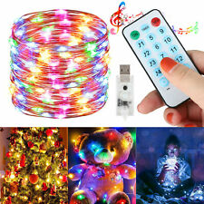50 100 LEDs String Lights Battery Music Sound Remote Control Fairy Party Wedding