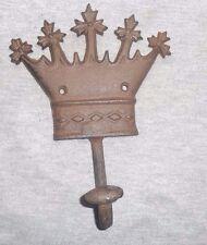 CROWN COAT HAT CLOTHES HOOK HANGER CAST IRON Wall Mount King, Queen Prince DA
