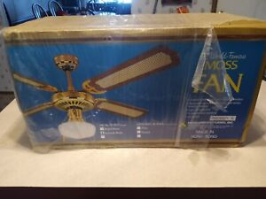 """Vintage New in Box Antique Brass / Cane 52"""" Moss Ceiling Fan 4 Blades."""