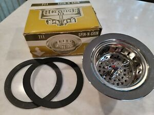 Spin-N-Grin 711 Stainless Steel Sink Strainer Vintage New Open Box USA