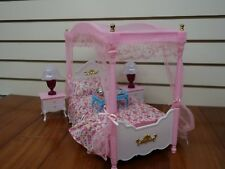 Barbie Size Dollhouse Furniture Master Bed Room Set Sleeping Doll Play Pink New