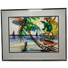 Original 1996 Signed Renowned Phillip Higgins Jamaican Watercolor Framed Tropics