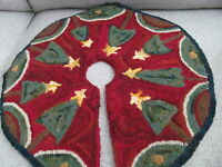 Primitive Christmas Hooked Wool Christmas Tree Skirt Primitive Rug Hooked Wool