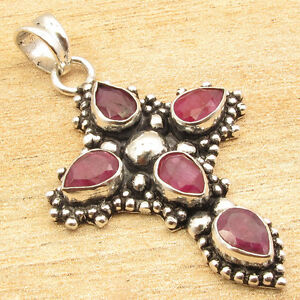 Red Simulated RUBY 5 Stone Pendant 1.8 Inch ! Silver Plated Fashion Jewellery