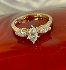 14K Yellow Gold 1.00CT VS Natural Solitaire Marquise Diamond Engagement Ring 7.5