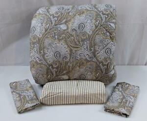 Ralph Lauren Fabric Aaron Paisley Queen Comforter Set Tan Black NEW 4Pc